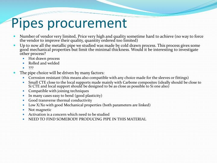 Pipes procurement