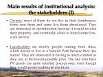 main results of institutional analysis the stakeholders i
