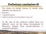 preliminary conclusions i