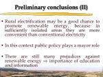 preliminary conclusions ii