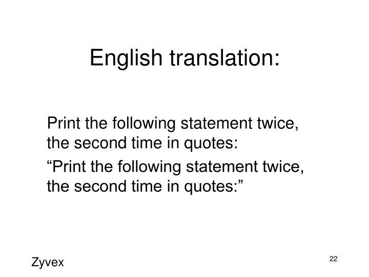 English translation: