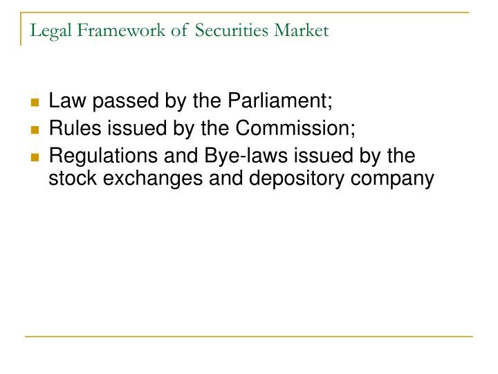 Legal Framework of Securities Market