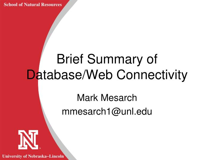 brief summary of database web connectivity n.