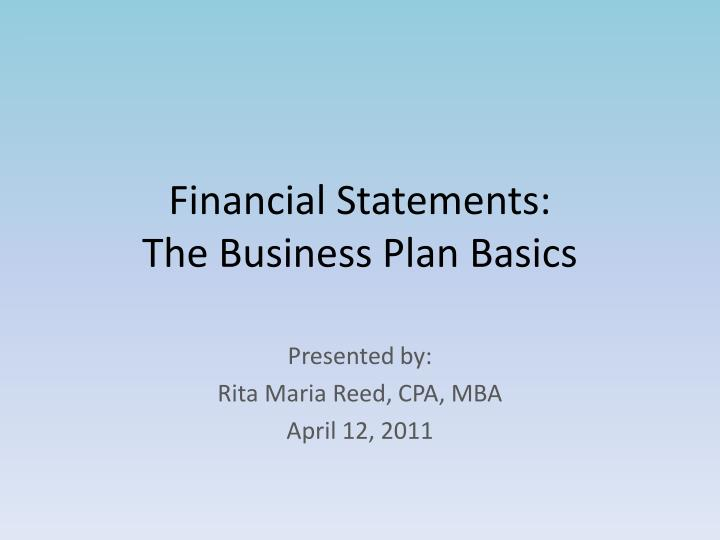 financial statements the business plan basics n.