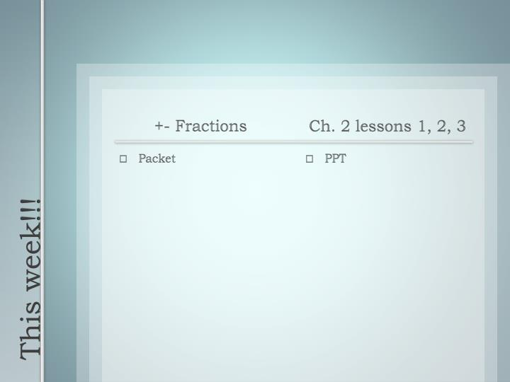 +- Fractions