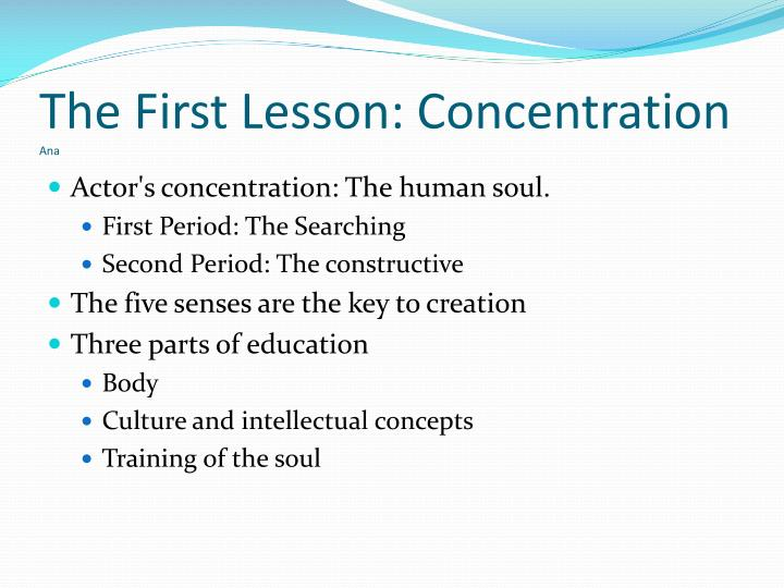 The first lesson concentration ana