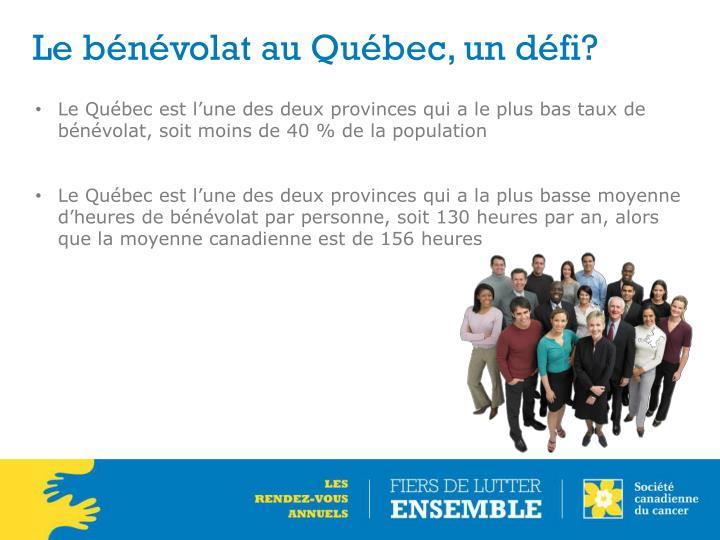 Le bénévolat au Québec, un défi?
