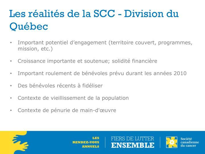 Les réalités de la SCC - Division du Québec
