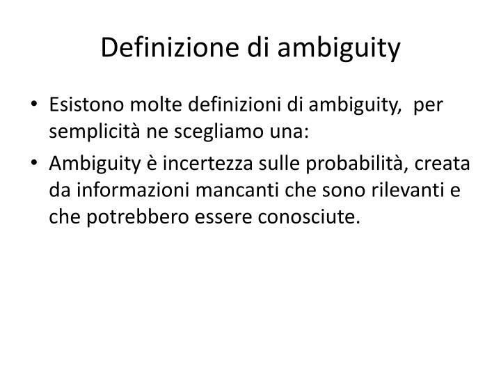 Definizione di ambiguity