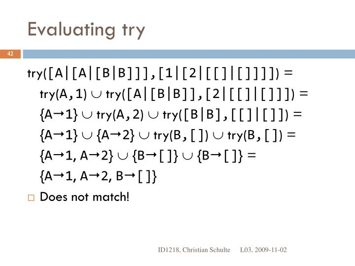 Evaluating try