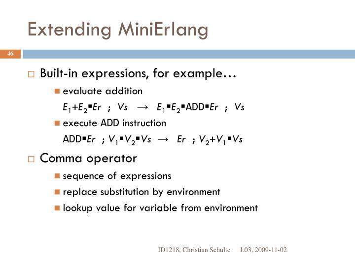 Extending MiniErlang