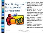 it all fits together has to do with development