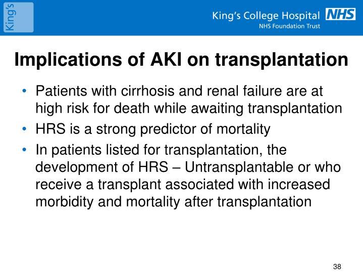 Implications of AKI on transplantation