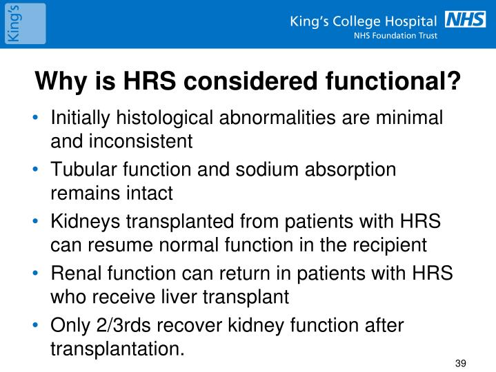 Why is HRS considered functional?