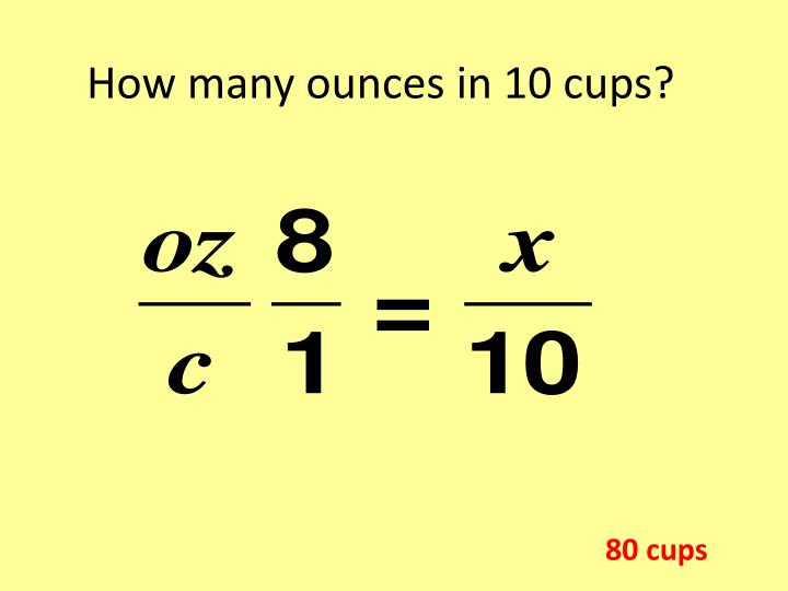 How many ounces in 10 cups?