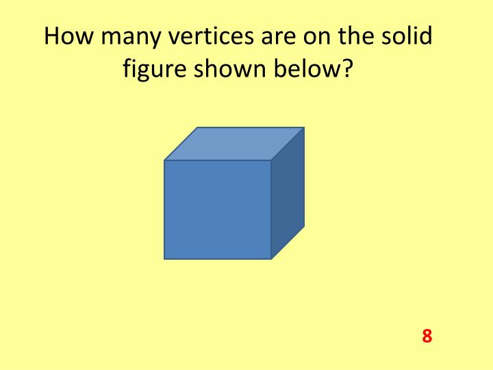 How many vertices are on the solid figure shown below?