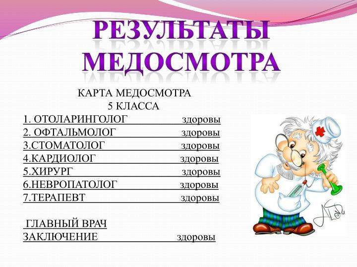 КАРТА МЕДОСМОТРА