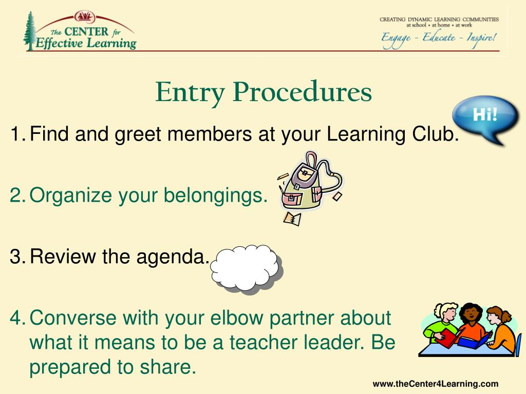 Cumplido Como Mercado  PPT - Find and greet members at your Learning Club. Organize your  belongings. Review the agenda. PowerPoint Presentation - ID:3080863