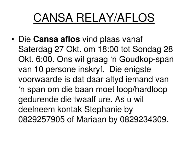 CANSA RELAY/AFLOS