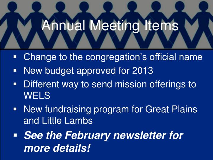 Annual Meeting Items