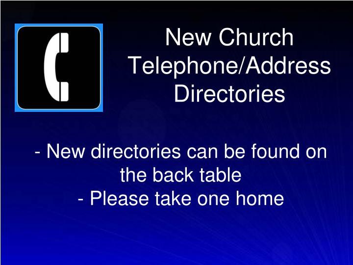 New Church Telephone/Address Directories