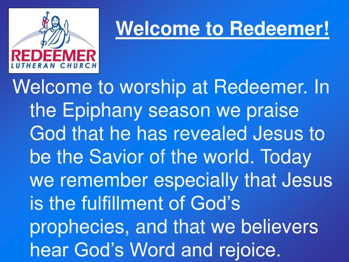 Welcome to Redeemer!