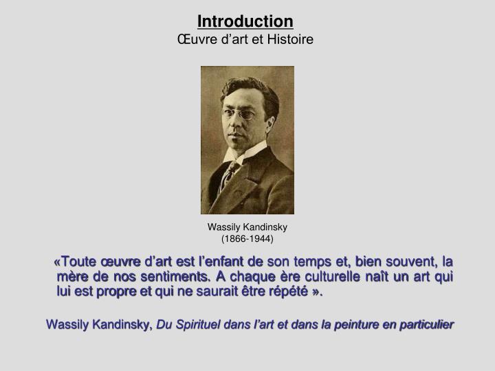 Introduction uvre d art et histoire