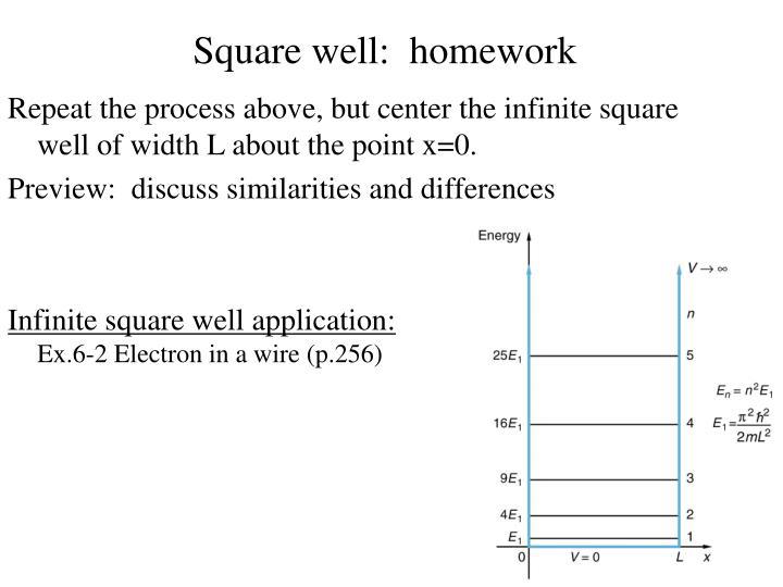 Square well:  homework