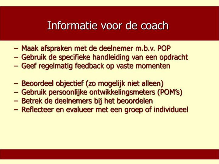 Informatie voor de coach