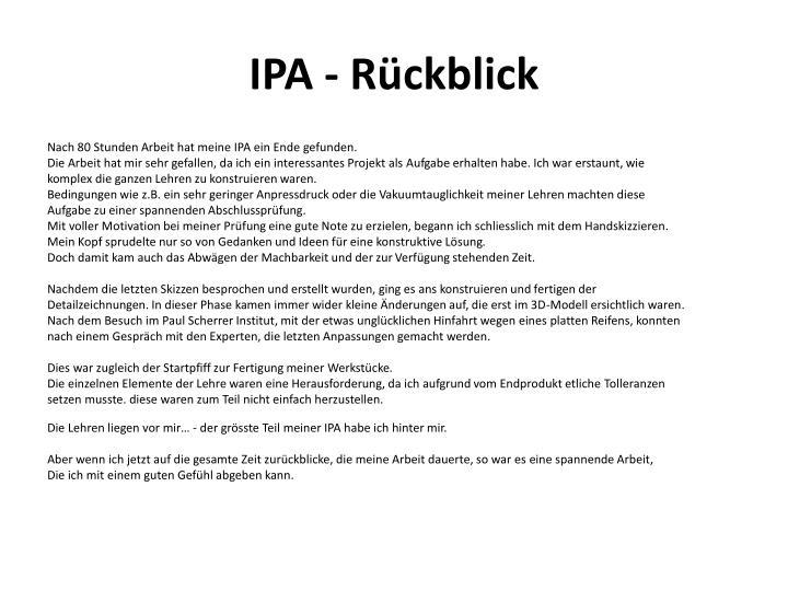 IPA - Rückblick