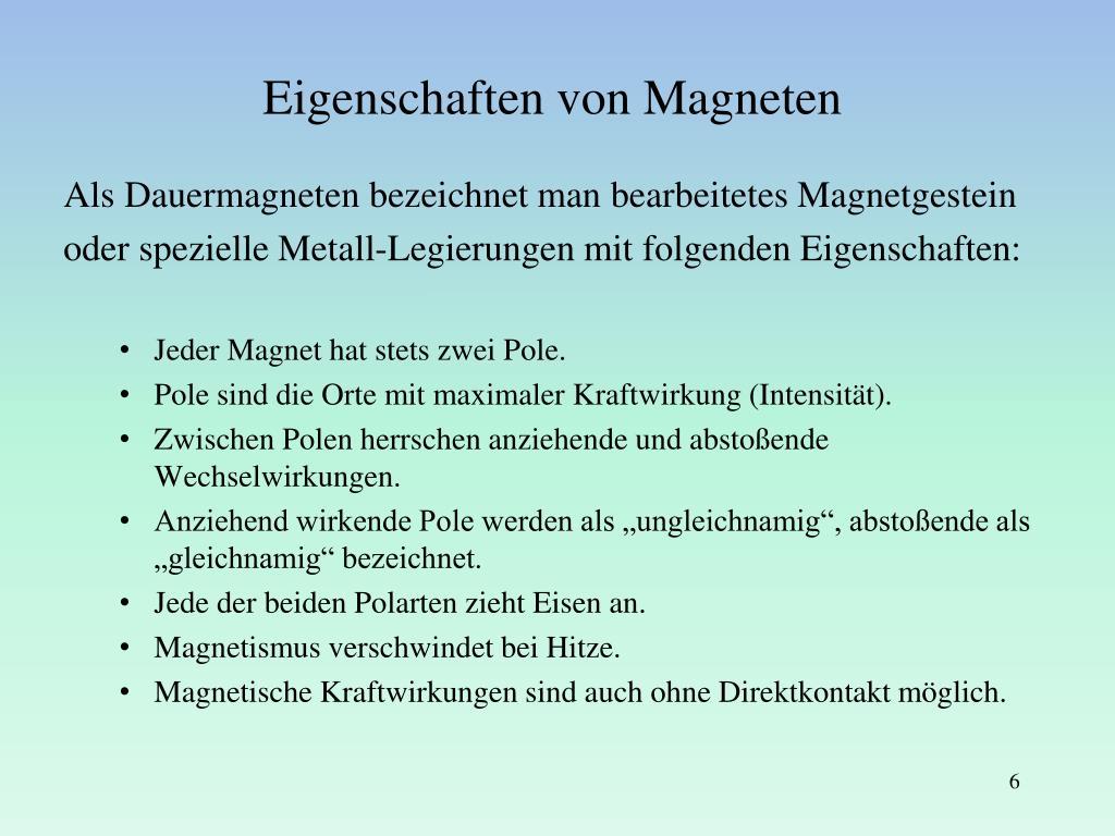 Eigenschaften Von Dauermagneten