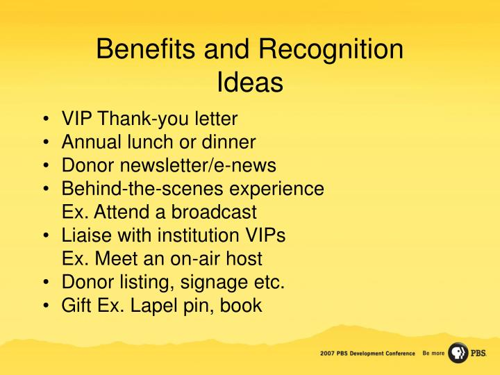 Benefits and Recognition