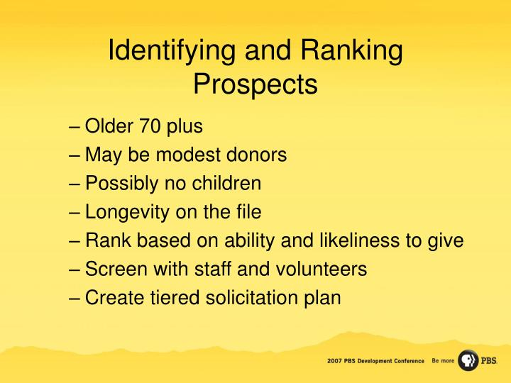 Identifying and Ranking Prospects