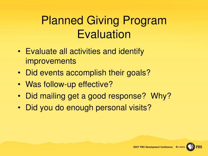 Planned Giving Program Evaluation