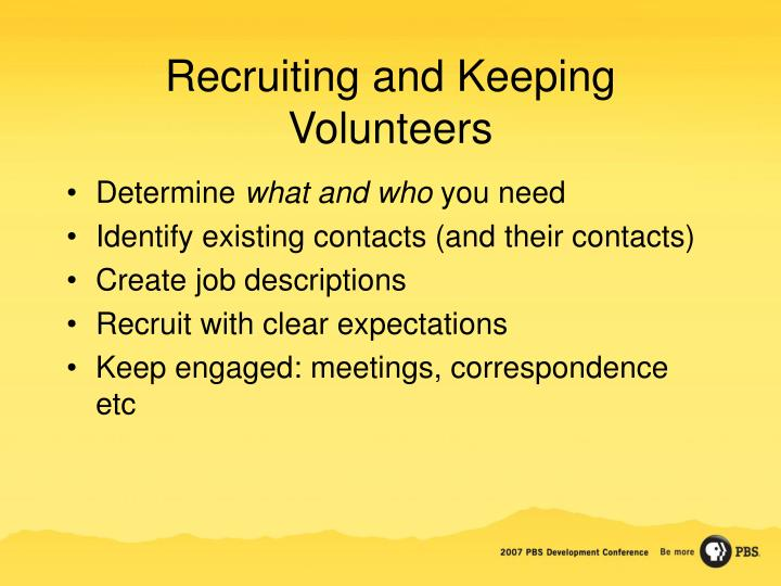 Recruiting and Keeping Volunteers