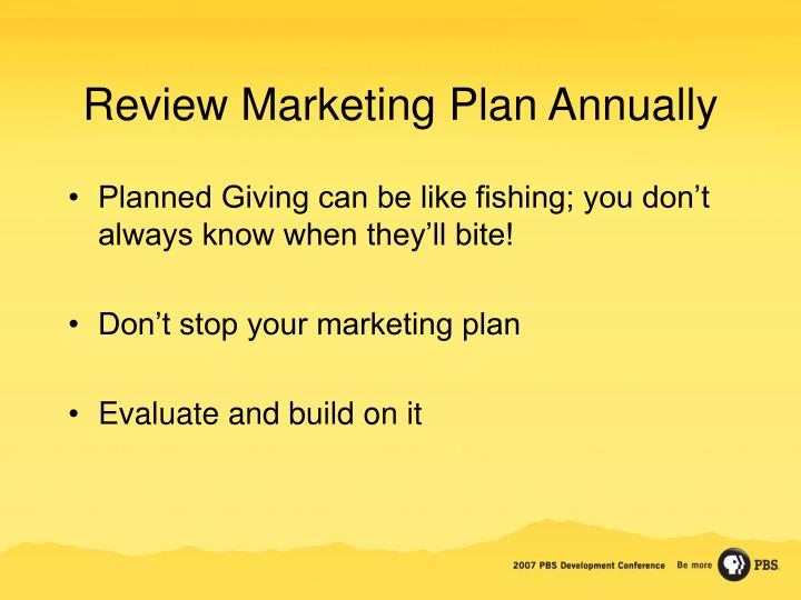 Review Marketing Plan Annually
