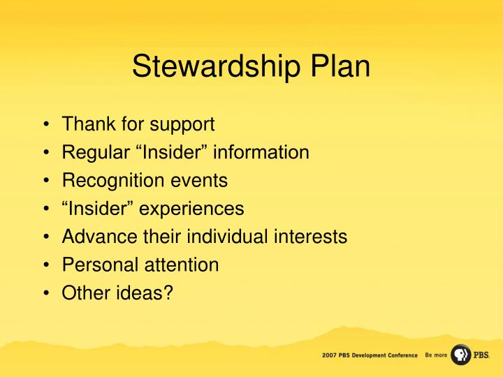 Stewardship Plan