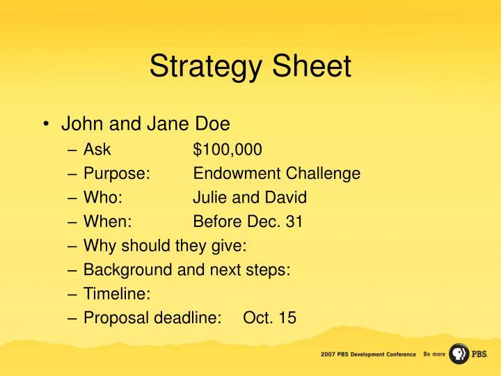 Strategy Sheet