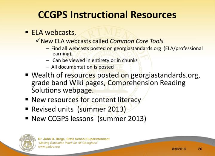 CCGPS Instructional Resources