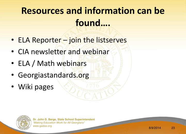 Resources and information can be found….