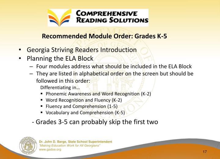 Recommended Module Order: Grades K-5