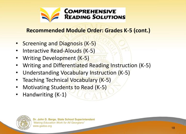 Recommended Module Order: Grades K-5 (cont.)