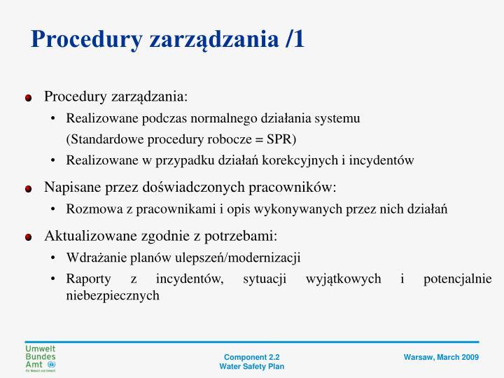 Procedury zarządzania