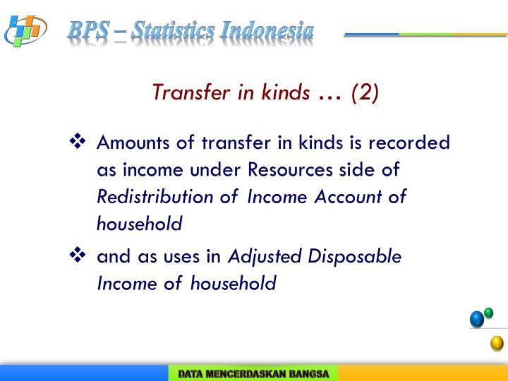 Transfer in kinds … (2)