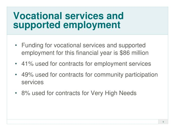 Vocational services and supported employment