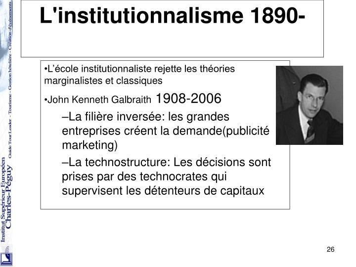 L'institutionnalisme 1890-