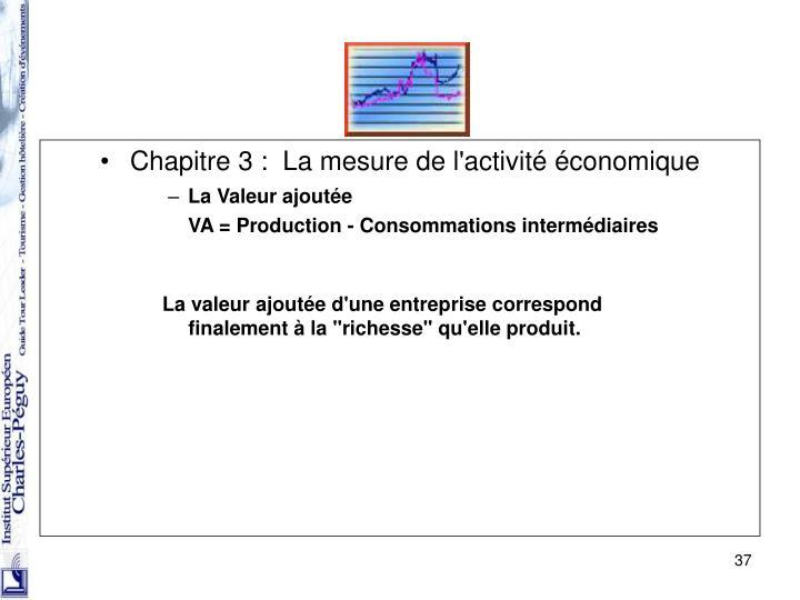 Chapitre 3 : La mesure de l'activité économique