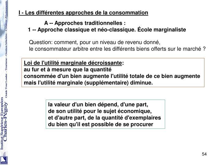 I - Les différentes approches de la consommation