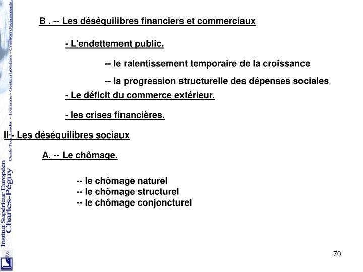 B . -- Les déséquilibres financiers et commerciaux