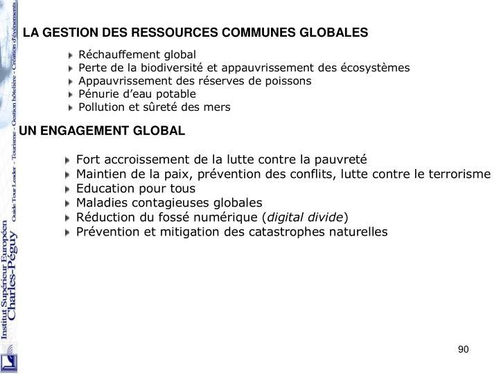 LA GESTION DES RESSOURCES COMMUNES GLOBALES
